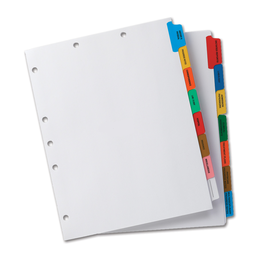 Medical Chart Dividers Made-to-order Chart Dividers